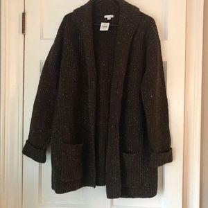 NWT JJill Duster Sweater Coat Cardigan Brown L
